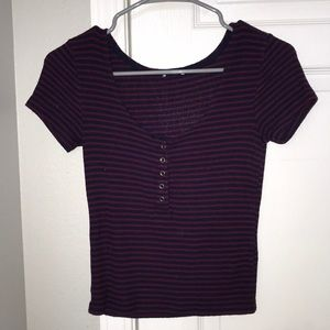 navy and maroon striped crop top